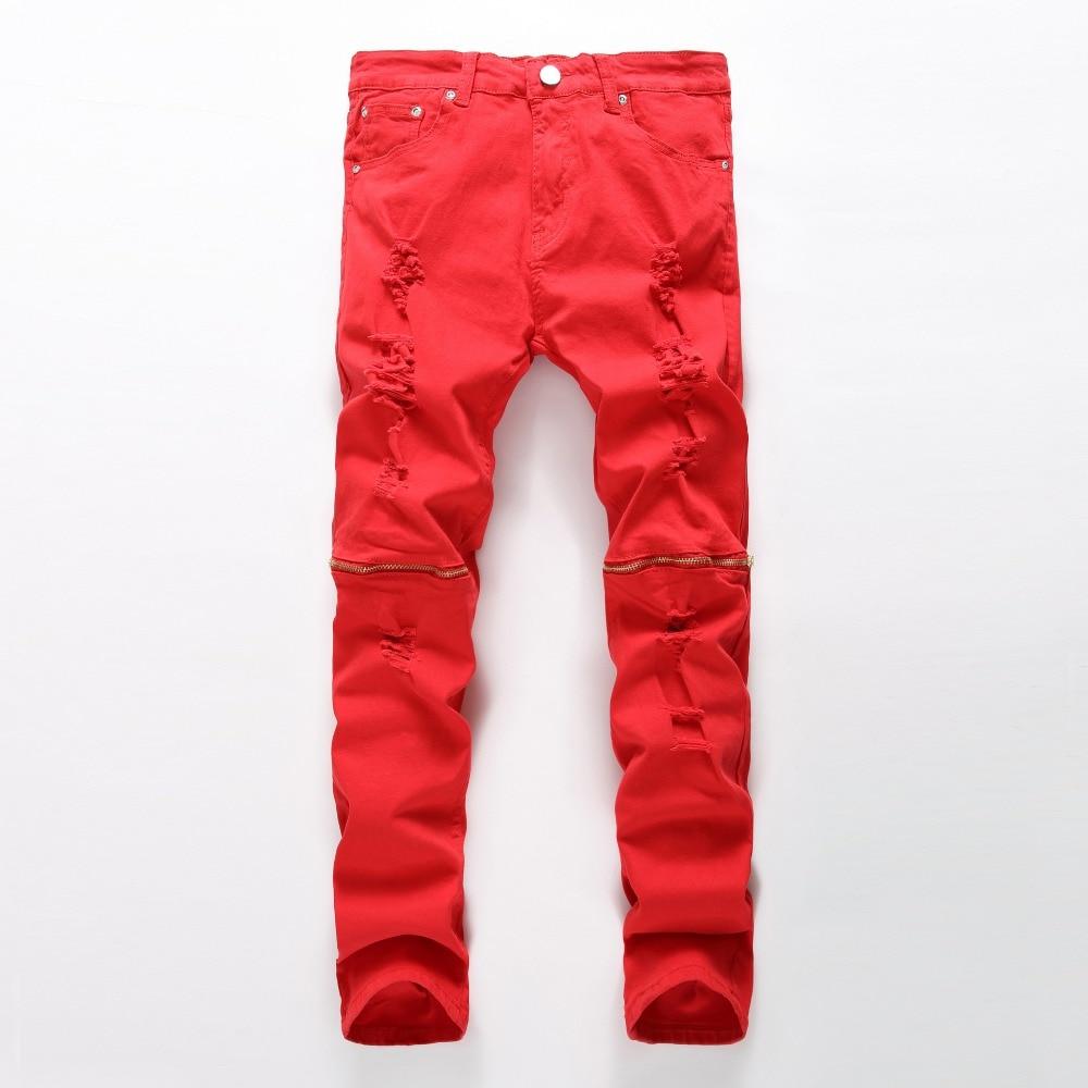 men s locomotive Jeans Men Active Hole Jeans Fashion Zipper Design Pencil Pants Ripped Denim Jean