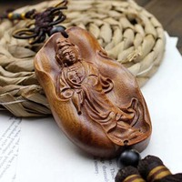 Chinese Folk Art Handmade Wood Carving God Of Wealth African Rosewood Relievo Carved Craft Supplies Amulet