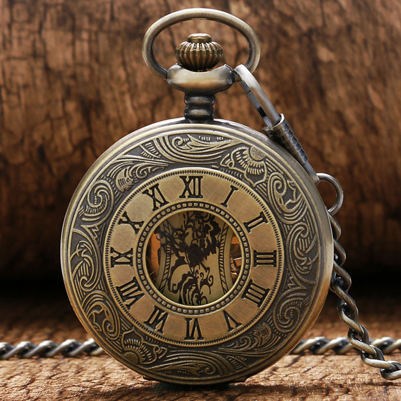 Roman Numerals Skeleton Watches Steampunk Pocket Watch With Chain Bronze Case Luxury Brand Mechanical Pocket Watch Xmas Gift luxury antique skeleton cooper mechanical automatic pocket watch men women chic gift with chain relogio de bolso