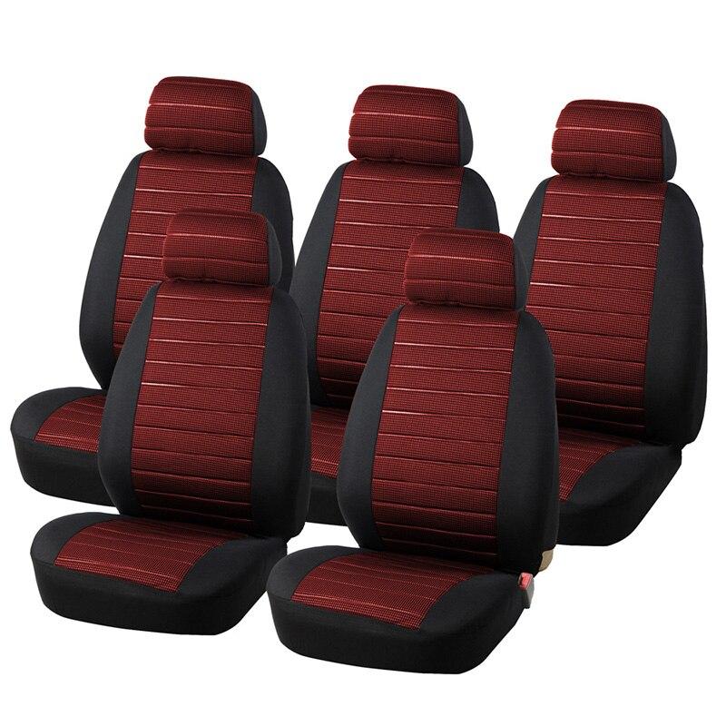 AUTOYOUTH 5 Sièges Rouge Siège Couvre Airbag Compatible, 5 MM Mousse Damier Universal Fit Plus Camionnettes, Minibus Intérieur Accessoires