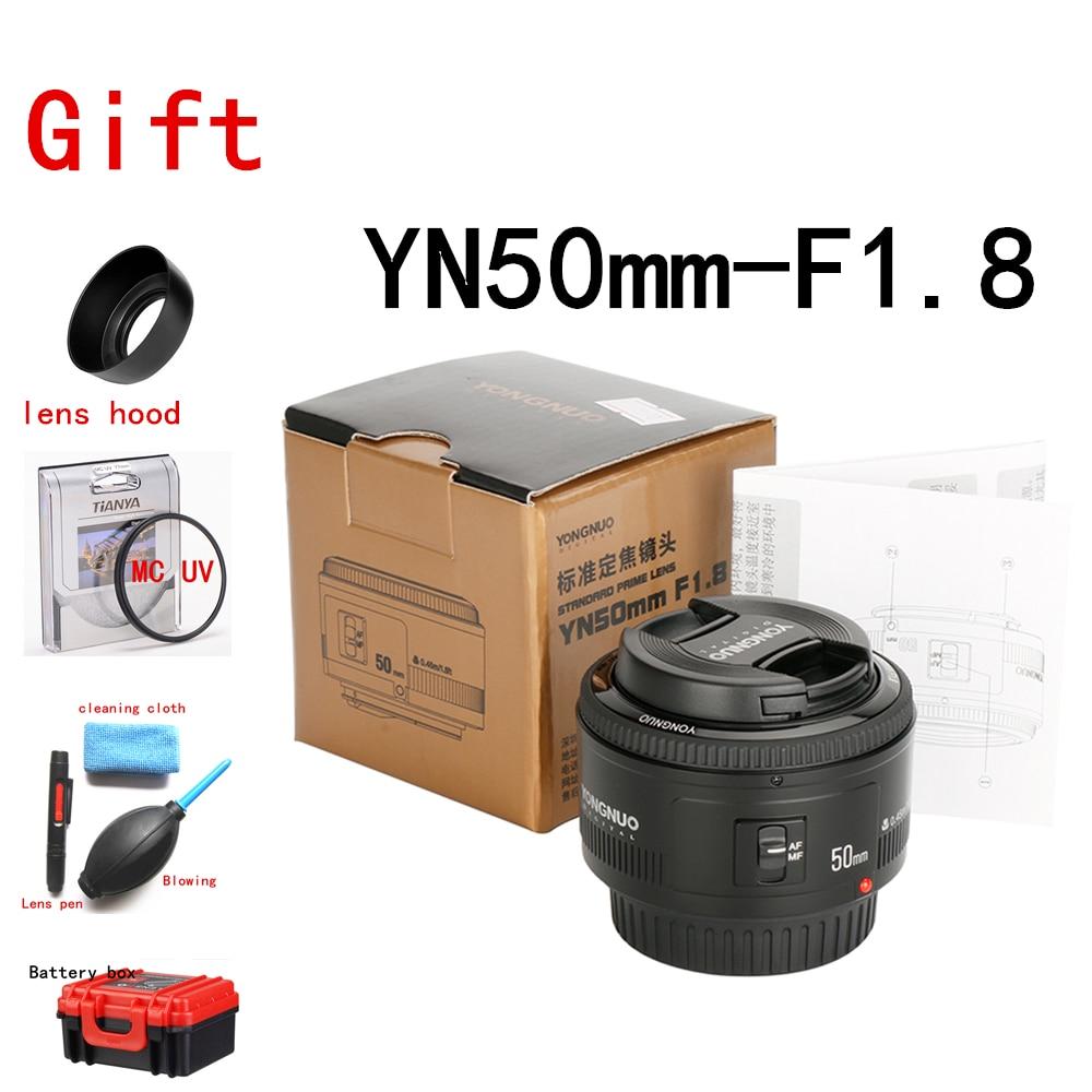 YONGNUO YN50mm F1.8 objectif à grande ouverture pour appareil photo reflex numérique Canon, mise au point automatique AF/MF 50mm Lentes pour Canon EOS 600D 70D 800D 1200D