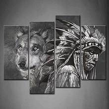 4Pc Picture Painting Wall Art Room Decor Print Poster African lion wall Pictures for sitting Room Canvas Painting Framed(China)