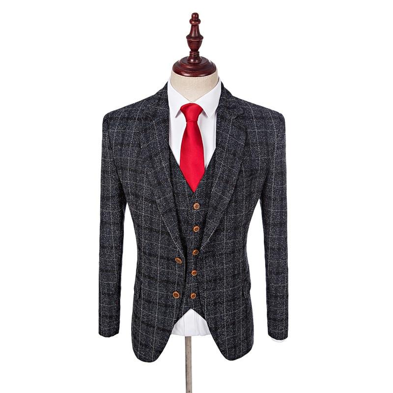 black tweed groom tuxedos for men bespoke plaid men. Black Bedroom Furniture Sets. Home Design Ideas