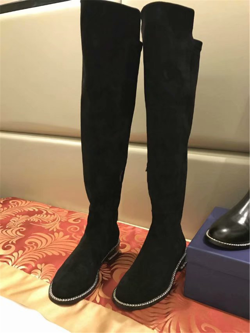 Appartements Chaussures Mode Bout Street As Mentale Chian Rond Bottes Le Marque as Shown Longues De Style Genou Moto Shown Sur Patchwork Luxe p7Ownp4WB8
