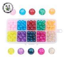 10 Colors Baking Painted Glass Beads, Imitation Opalite, Round, Mixed Color, 8mm, Hole: 1.3~1.6mm; 30pcs/comparment,