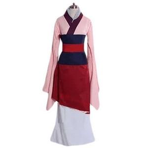 Image 4 - Movie Mulan Cosplay Costumes Red Blue Drama Princess Dresses Skirt Hua Mulan For Women Girls Halloween Party Stage Clothing