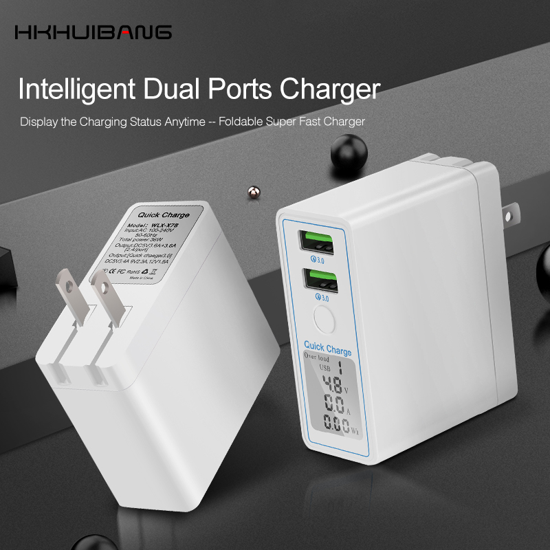 Image 3 - HKHUIBANG 36W USB Charger Quick Charge QC 4.0 3.0 Portable Charger For iPhone Samsung Xiaomi Fast Charging Adapter Led Display-in Mobile Phone Chargers from Cellphones & Telecommunications
