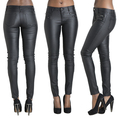 New Sexy skinny leather pants pencil trousers fake zipper full length solid high waisted for women feminino