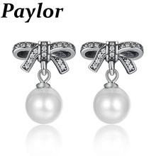 291dbe70b New Fashion Bow Knot Earrings Pandora Jewelry Female Drop Earrings with Pearls  Earrings Silver Color Jewelry Mother's Day Gift