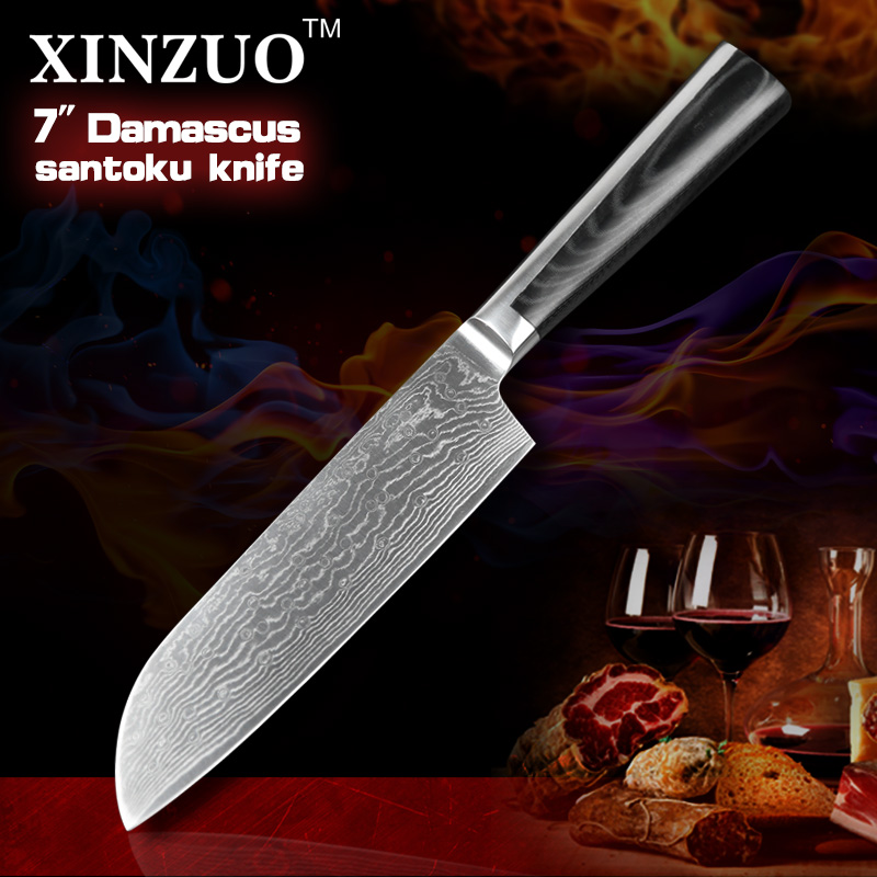 2016XINZUO 7 inch santoku font b knives b font Damascus kitchen font b knife b font