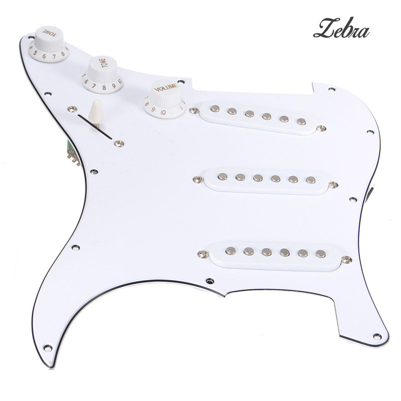 Zebra Electric Acoustic Guitar 3 Single Coil Loaded Prewired Pickguard Assembly SSS For Guitar Replacement Part Accessories white 3 single coil pickup loaded pre wired sss pickguard set for fenderstrat st guitar parts