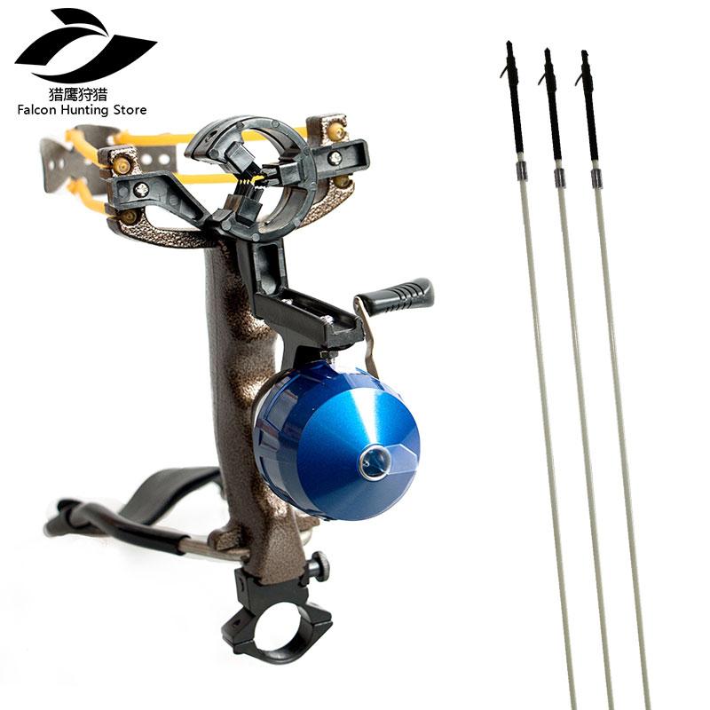 Slingshot chasse Pêche Tir Fronde avec Pliage Poignet Catapulte Alliage + Chasse Fronde 3 pièces pêche flèches