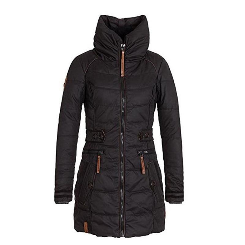 Women long   Parkas   Zipper Stand Collar Goth Thicken Cotton Overcoats Winter Autumn Velvet Wadding Slim Outerwear Causal Jackets