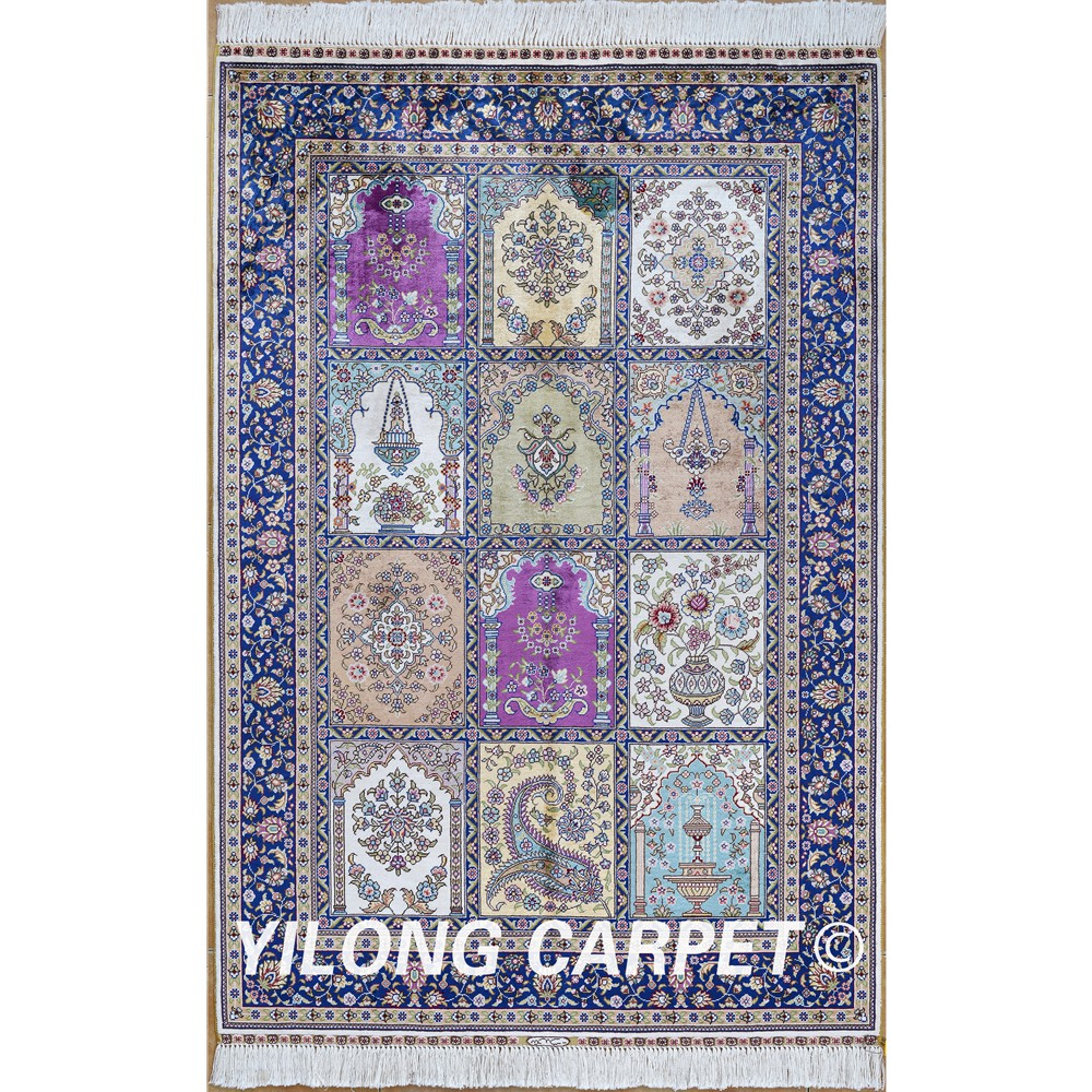 Yilong 3u0027x4.5u0027 Antique Persian Silk Carpet Hand Knotted Purple And Beige  Four Season Oriental Rugs (0550)