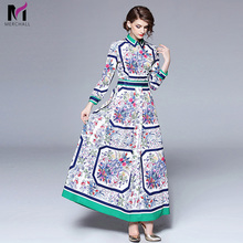 купить 2019 High Quality Women Fashion Floral Print Vintage Dress Long Sleeve Casual Shirt Dress Runway Designer Dresses Robe Femme по цене 817 рублей
