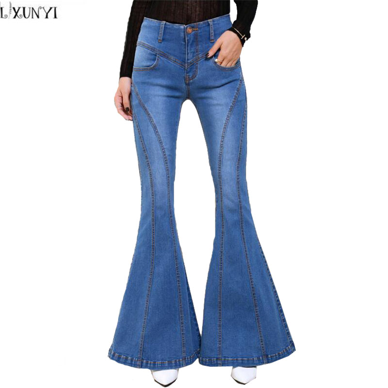 LXUNYI New 2017 Autumn Women jeans Pants Casual Ladies Stretch Slim Flare Pants High Waist Patchwork Wide leg jeans light Blue anne klein new deep black slim leg ponte director women s 2 dress pants $89 361