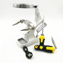 Multifunctional Soldering Welding Magnifier Stand Desktop 3X 4 5X Helping Hands Alligator Clips With Dual use