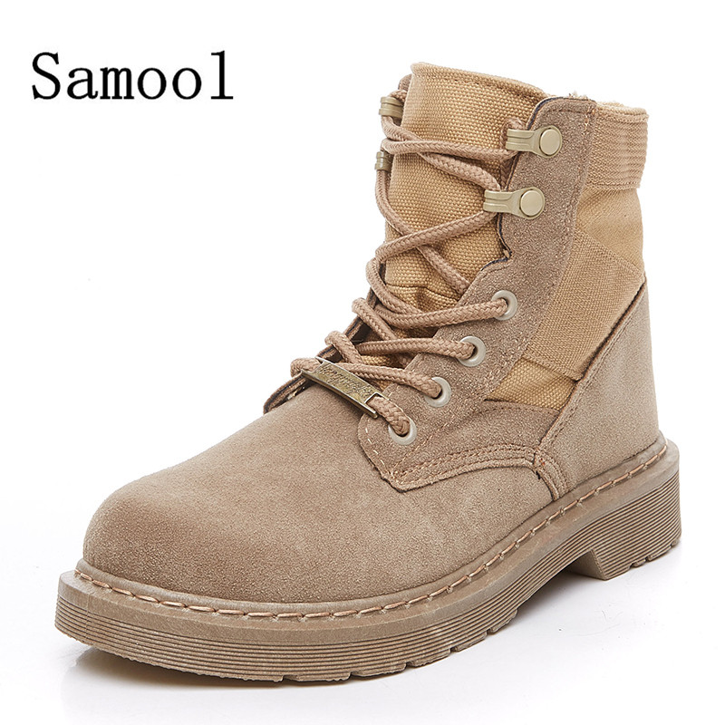 SAMOOL  Women's Fashion High Tops Casual Shoes Lace Up Martin Boots Female Ankle Boots Round Toe Frock Boots Suede Women's Boots front lace up casual ankle boots autumn vintage brown new booties flat genuine leather suede shoes round toe fall female fashion