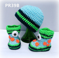 Crocheted one eyed infant boy or girl shoes boot and hat set