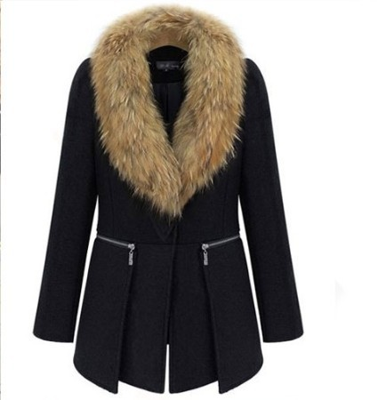 2018 autumn and winter large size women in Europe and America in the long section woolen coat fur collar woolen good quality