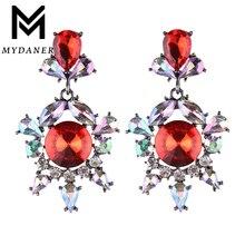 MYDANER New Design Luxury Drop Dangle Earrings Wedding Sexy Crystal Rhinestone Bohemian Beads Long Dangle Earrings for Women