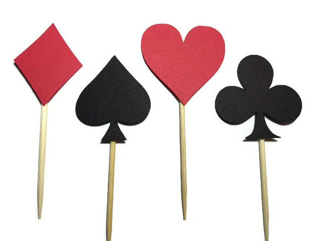 Casino Themed Cupcake Toppers Red White And Black