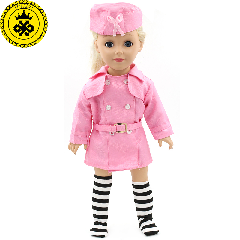 American Gift Girl Doll Accessories Stewardess Uniform Pink Suit Baby Girl Gift Doll Cute Clothes for 18 Inch Dolls MG-063