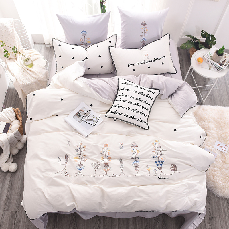Us 123 06 33 Off Modern White Embroidery 60s Long Staple Satin Cotton 4 6 7pcs King Queen Bedding Set Duvet Cover Bed Linen Sheet Pillowcases In