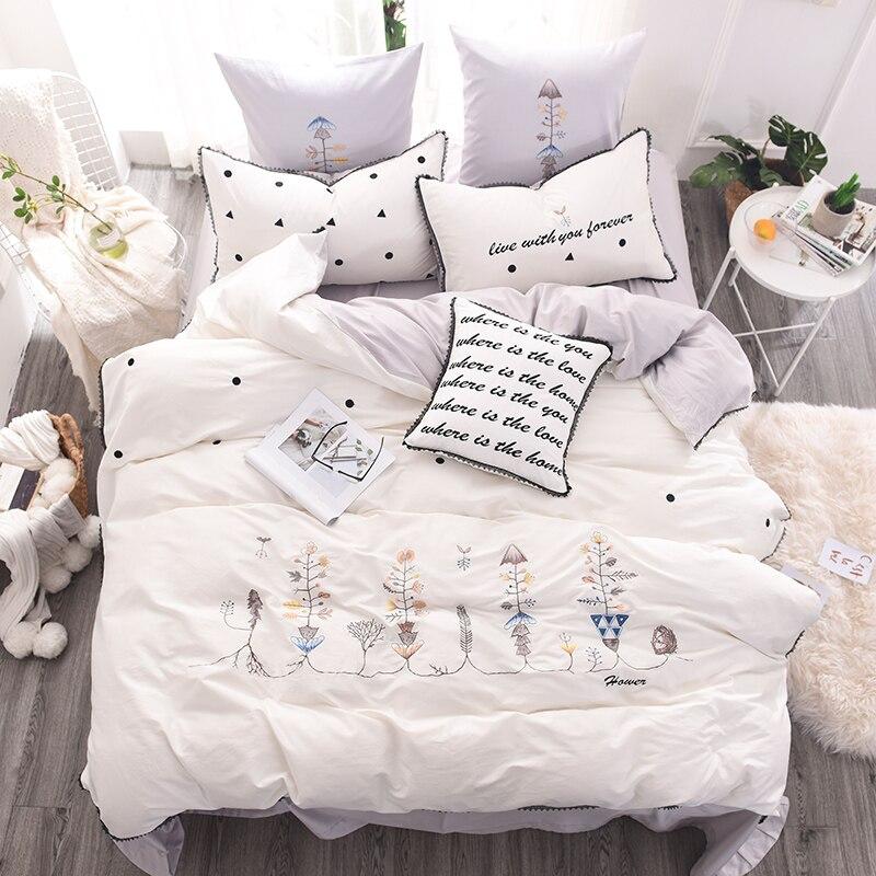 Modern White Embroidery 60S Long Staple Satin Cotton 4/6/7PCS King Queen Bedding Set Duvet Cover Bed Linen Bed sheet Pillowcases