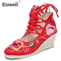 EISWELT משאבות של נשים נעלי טריזים הלאומיים פקין הישנה רטרו עם עקבים גבוהה נעלי ריקוד פרח תחרה עד בד רך # ZQS044