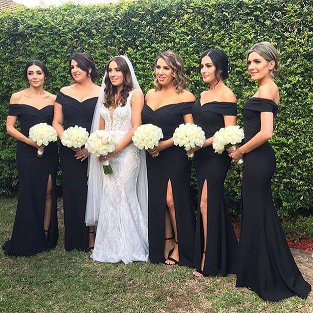 023311972aa Black Mermaid Bridesmaid Dresses 2019 Boat Neck Side Split Simple Satin Long  Wedding Guest Dress Cheap Maid Of Honor Gowns