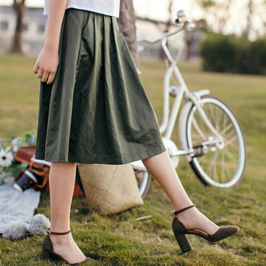Image 2 - INMAN Women Spring Autumn Contrast Color Elegant Lady Nice Middle Skirt
