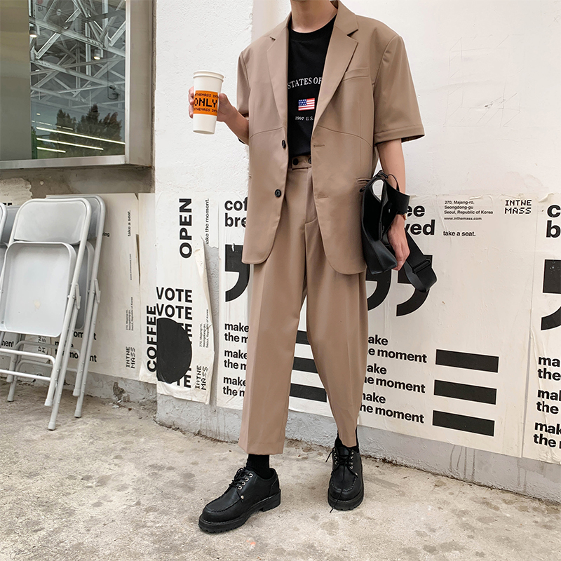 2019 Summer New Korean Version Of Loose Harajuku Trend Student Business Casual Men's Three-color Pants Streetwear
