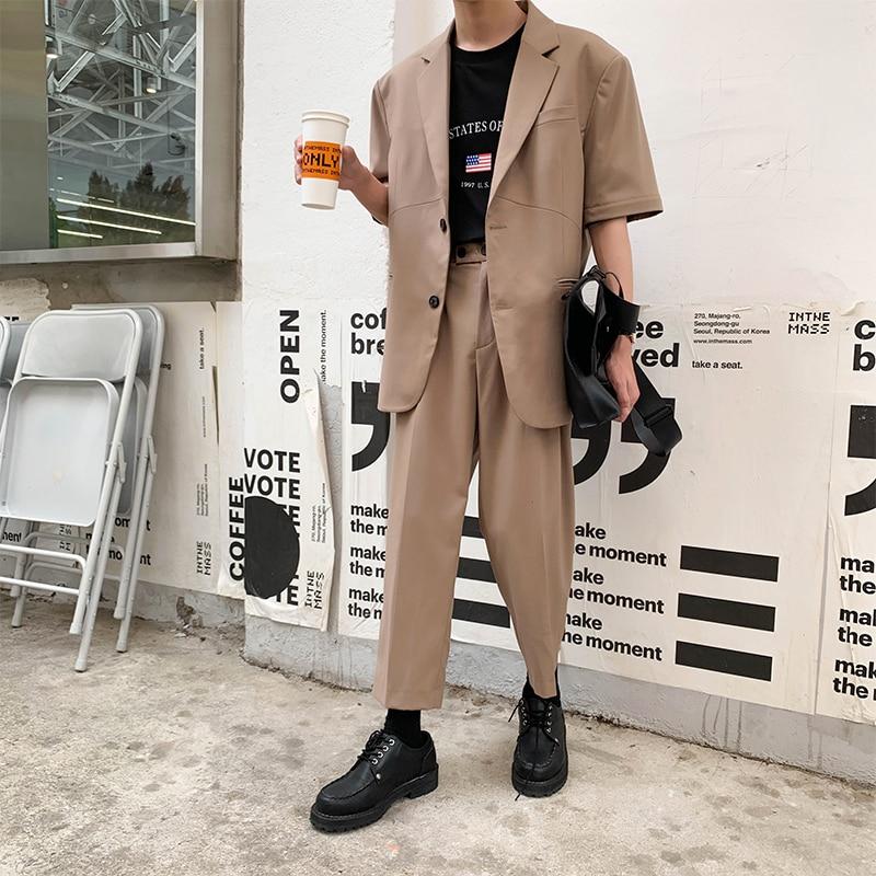 2019 Summer New Korean Version Of Loose Harajuku Trend Student Business Casual Men's Three-color Pants Streetwear