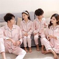 Family Matching Pajamas Set Matching Mother Father Daughter Son Pajama For Girl Silk Sleepwear Men Women Nightwear Home Wear Set