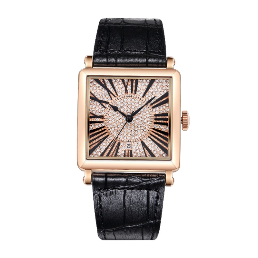 MATISSE Women Fashion Full Crystal Dial Leather Strap Quartz Watch Wristwatch Black