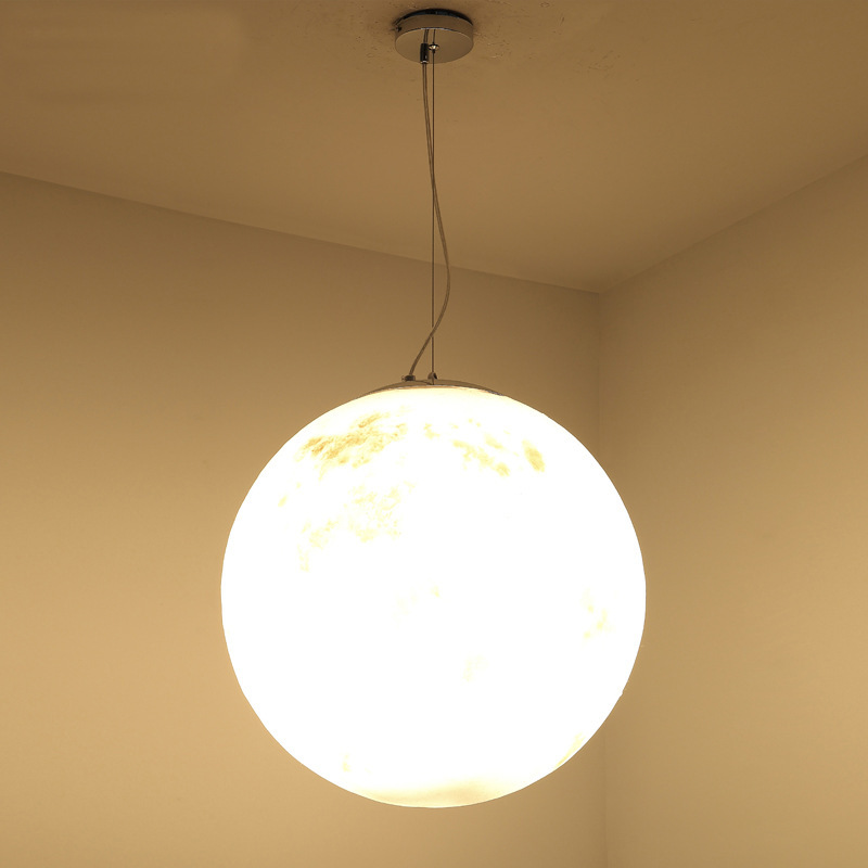 Nordic Simple Lunar Moon Pendant Light Post Modern Led Round Gl Hanging Lamp Indoor Lighting For Restaurant Bar In Lights From