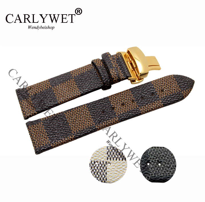 CARLYWET 22mm Black Brown White Plaid Style Leather Watch Band Strap Wrist Bracelet with Double Push Deployment Clasp carlywet 22 24mm silver solid screw links replaceme 316l stainless steel wrist watch band bracelet strap with double push clasp