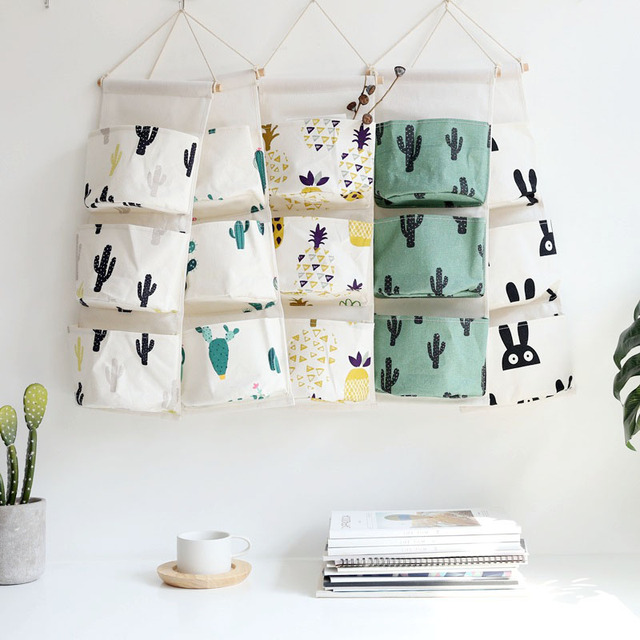 Nordic Style Wall Hanging Storage Bag 3 Pockets Makeup Cosmetic Sundries Organizer Pouch Wardrobe Closet Organizer Container
