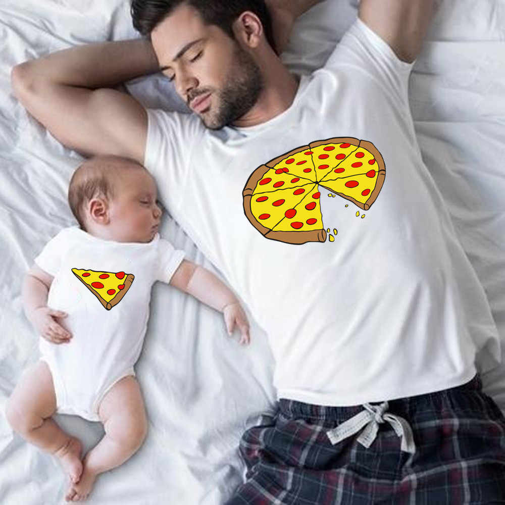 Funny Family Look Dad and Son Family Matching Clothes Pizza Print T-shirt for Daddy Mommy Kids Romper for Baby