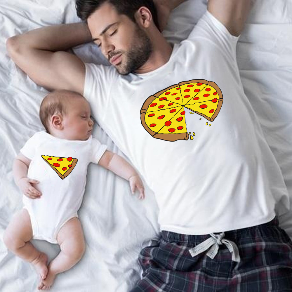 Cotton Funny Family Look Dad Son Family Matching Clothes Pizza Print T-shirt Daddy Mommy Kids Romper Baby
