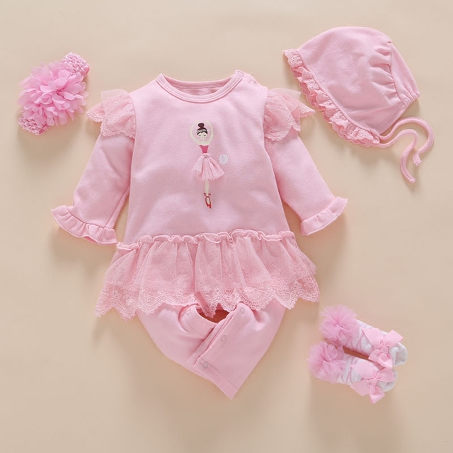 9d73455fe 4Pcs Set New Born Baby girl clothes Rompers+Hat+Sock+Headband lace ...