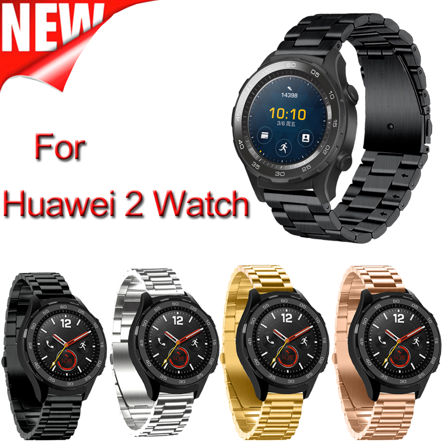 Width 20mm New Product Three links Stainless Steel Smart Watchband for Huawei watch 2 band Metal Classic Buckle Watch Bracelet смарт часы huawei watch classic bracelet mercury g00 link stainless steel серебристый 55020701