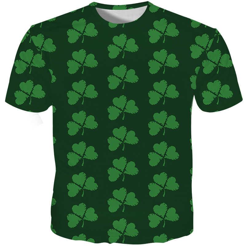 Cloudstyle Saint Patrick T-shirt Männlichen Hip Hop Lustige T shirts 3D Druck Clover Bier Slim T-shirts Hipster Streetwear Casual tops
