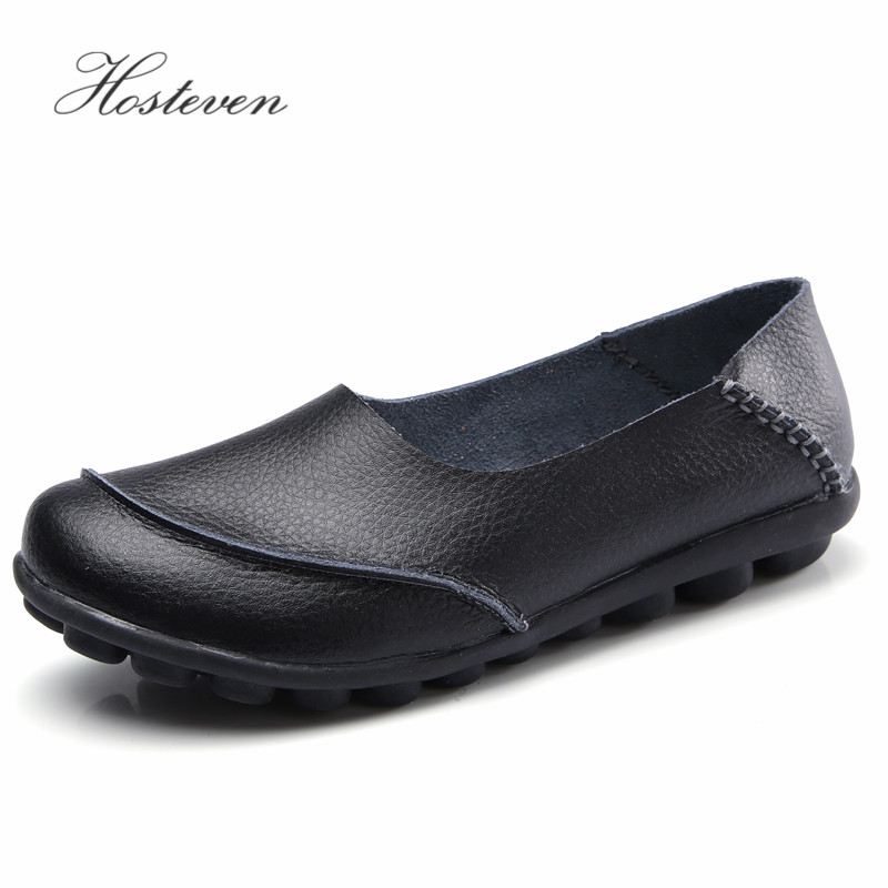 Hosteven Women Shoes Flats Moccasins Loafers Genuine Leather Oxford Mother Girls Fashion Casual Shoes Driving Shoes Size 35 44 in Women 39 s Flats from Shoes