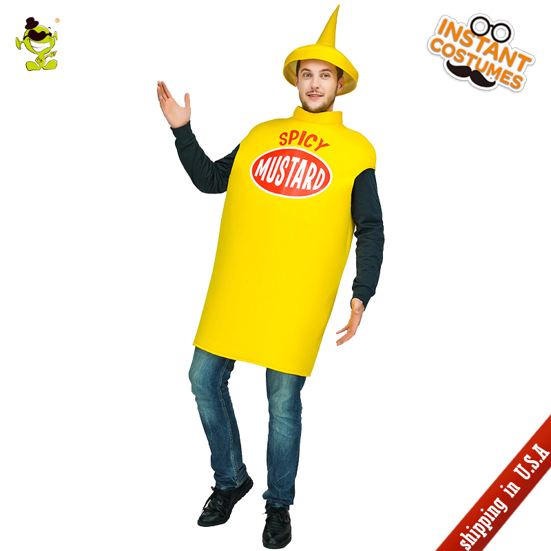 New Mustard Jumpsuit Cosplay Costume in Carnival Party Fancy Dress Adult Men's Mustard Clothes for Halloween