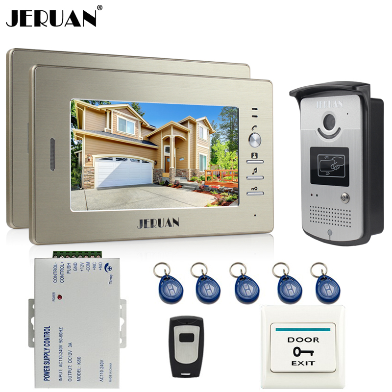 JERUAN Home Doorbell 7 inch Video DoorPhone Intercom System kit 2 Monitor 700TVL RFID Access Aluminum panel COMS Camera In stock jeruan home 7 video door phone intercom system kit 1 white monitor metal 700tvl ir pinhole camera rfid access control in stock
