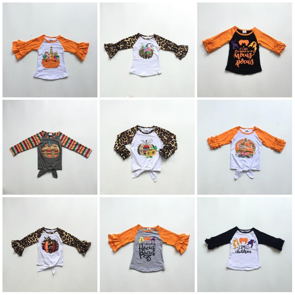 Fall/winter Halloween Baby Girls Boutique T-shirts Clothes Leopard Pumpkin Sunflower Cotton Top Children Raglans Icing Sleeve