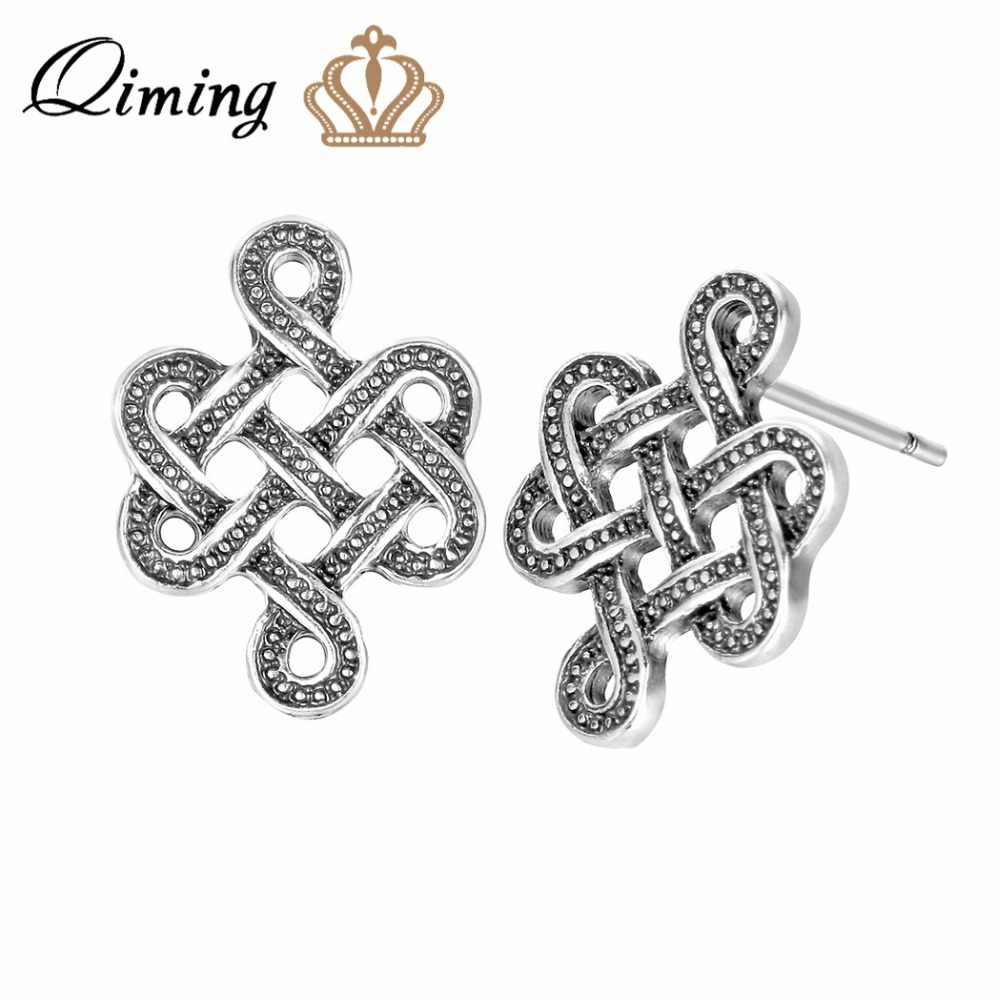 QIMING Silver Infinity Knot ต่างหูหญิง Celtic ไอริช Eternity ใหม่ผู้ชายผู้หญิงเครื่องประดับ Pendientes ไวกิ้งขายส่งต่างหู