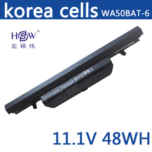 Genuine original 11.1V 48wh laptop battery for Clevo WA50BAT-6 3ICR18/65-2 6-87-WA5RS-424 bateria akku